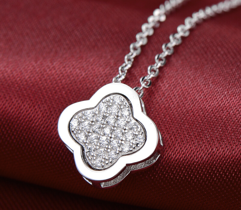 Four leaf clover flower pendant  charms chain necklace 925 sterling silver jewelry choker necklace for woman