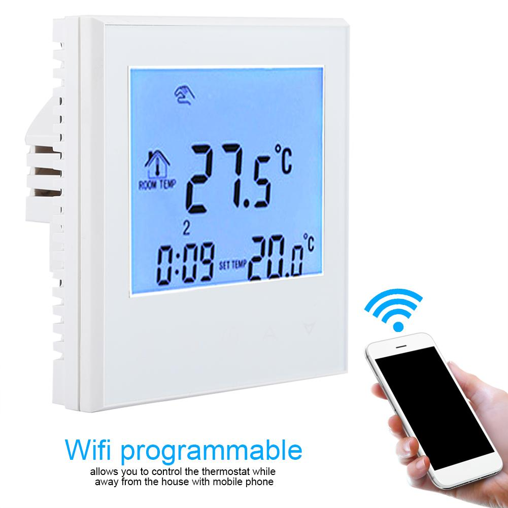 Wirless Temperature Controller Wall Stall Smart WIFI Programmable Thermostat Digital LCD Display for Room Heating