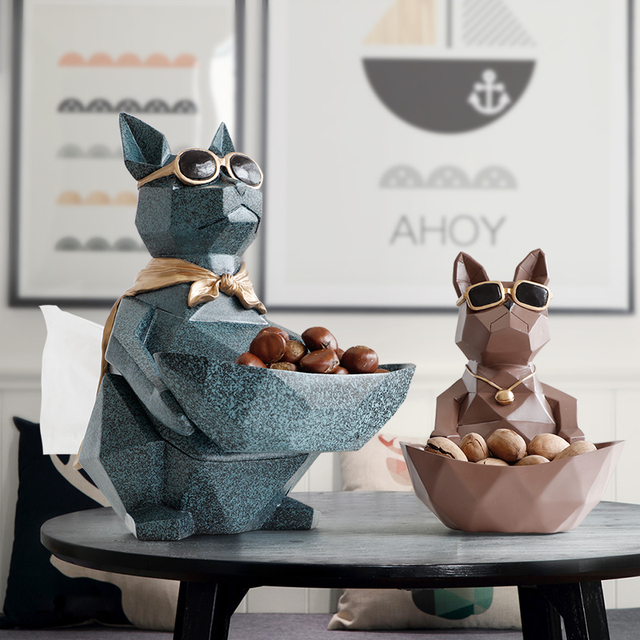 Cat Dog Figurines Resin Moden Crafts Animals Miniature cute ornaments for Home office decoration Storage bowl Carved Collectible 1