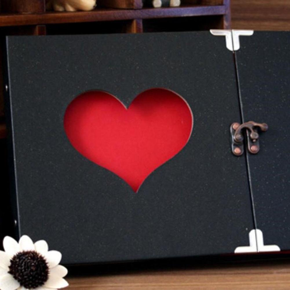 10 pouces Photo mariage mémoire livre Pages noires auto-adhésif Album insérer saint valentin anniversaire sur Album à faire soi-même amour coeur
