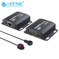 Esynic 4Kx2K 60M HDMI Extender HDMI Repeater with IR Remote Control Over RJ45 Cat6/7 Cable Support 3D 1080P for DVD Sky HD Box