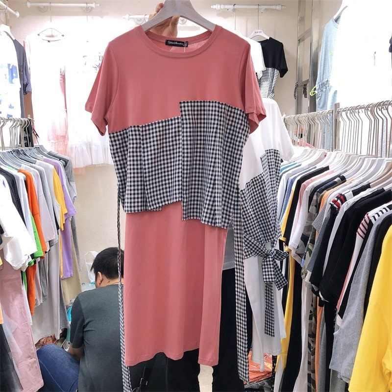 LANMREM/2019 г. Новые летние платья в Корейском стиле, свободные платья с короткими рукавами и завязками на талии, женские повседневные платья YH453