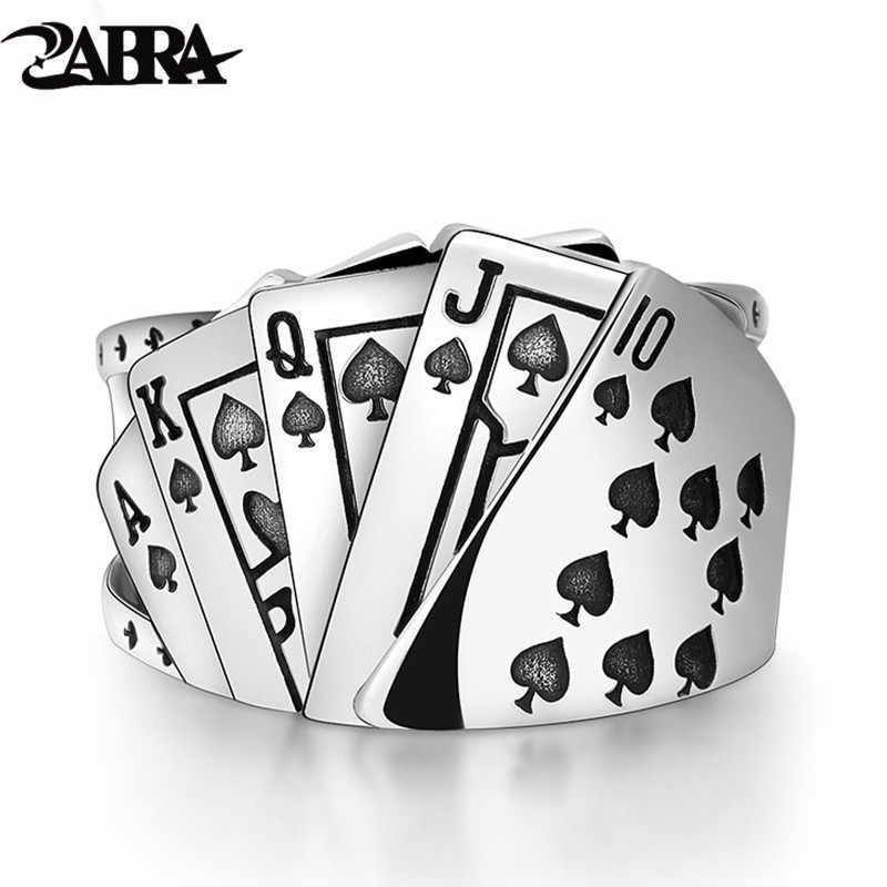 ZABRA Poker Ring Solid 925, серебряное кольцо в стиле пранк-рок для мужчин и женщин, черная перстень, ювелирные изделия, регулируемые размеры от 7 до 10, можно Cutomize Размер