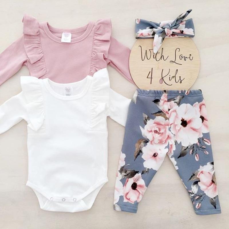 Crianças recém-nascidas Do Bebê Flor Meninas Top Calças Compridas Romper Headband Outfits Roupas Babados Outfits Set roupa infantil