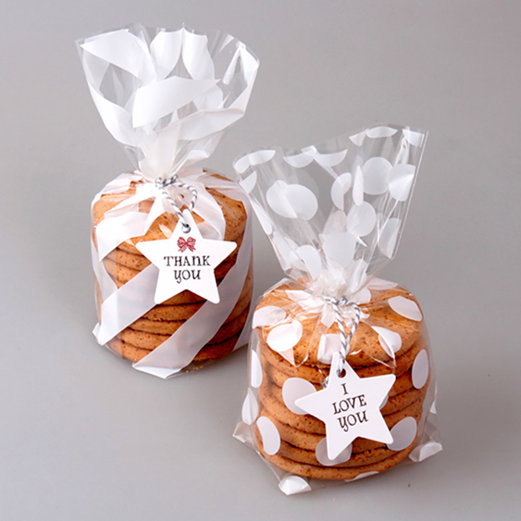 100PCS Cute Treat Bag Cookie Candy Gift Bags For Candy Biscuits Snack Baking Package Event Party Supplies