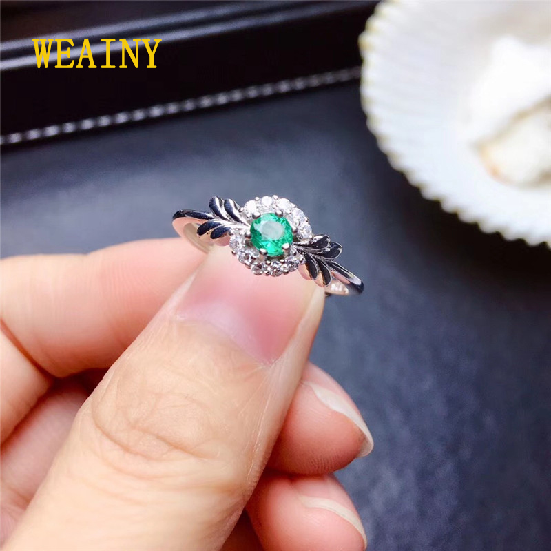 WEAINY New 100% 925 Sterling Silver Natural  Emerald Gemstone Wedding Engagement Cocktaill Ring Jewelry