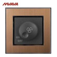 MVAVA потолочный вентилятор диммер переключатель 110-250 В контроль скорости настенный включение/выключение поворот золото сатин Металл Великобритания/ЕС стандарт