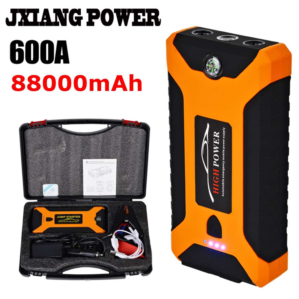 88000mAh Super Power Car Jump Starter Power Bank 600A Portable Car Battery Charger Booster Charger 4USB 12V SOS Starting Device88000mAh Super Power Car Jump Starter Power Bank 600A Portable Car Battery Charger Booster Charger 4USB 12V SOS Starting Device