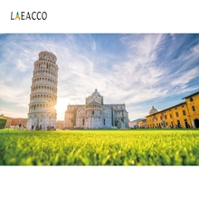 Laeacco Leaning Tower of Pisa Sunlight Backdrop Photography Backgrounds Customized Photographic Backdrops For Photo Studio