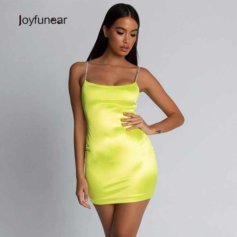 24439db895c ... Joyfuner Crystal Spaghetti Strap Women Dresses Sexy Bodycon Party Dress  2019 New Green Sleeveless Mini Summer ...