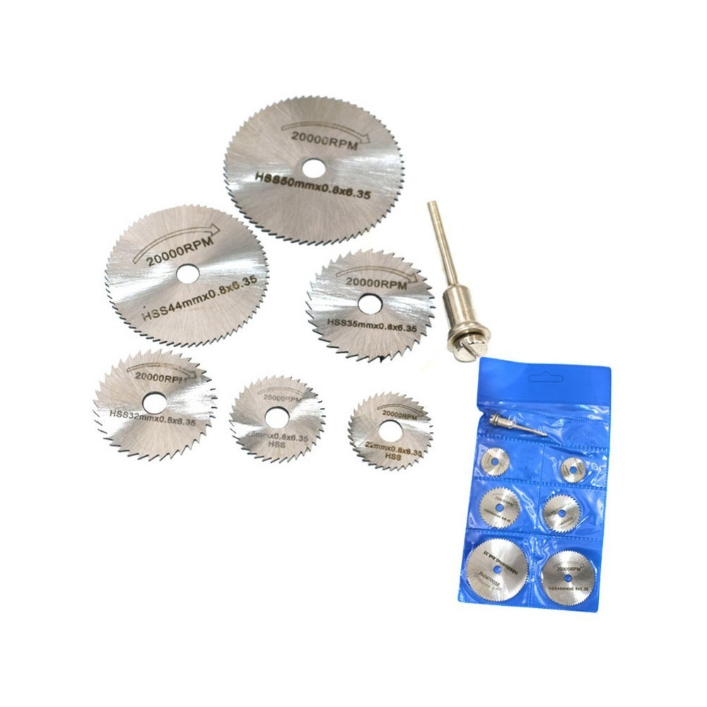 6 Saw Blade +1pc Pole Hss High-speed-steel Circular Rotary Blade Wheel Discs Mandrel For  Tools Wood Cutting Saw Blades