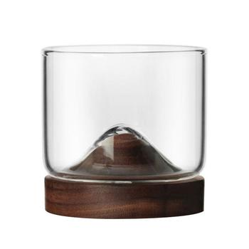 Whiskey Small Glass Cup Japanese StyleGlass Unique Design Elm Black Walnut Bottom High Temperature Resistance Wine Glass 4