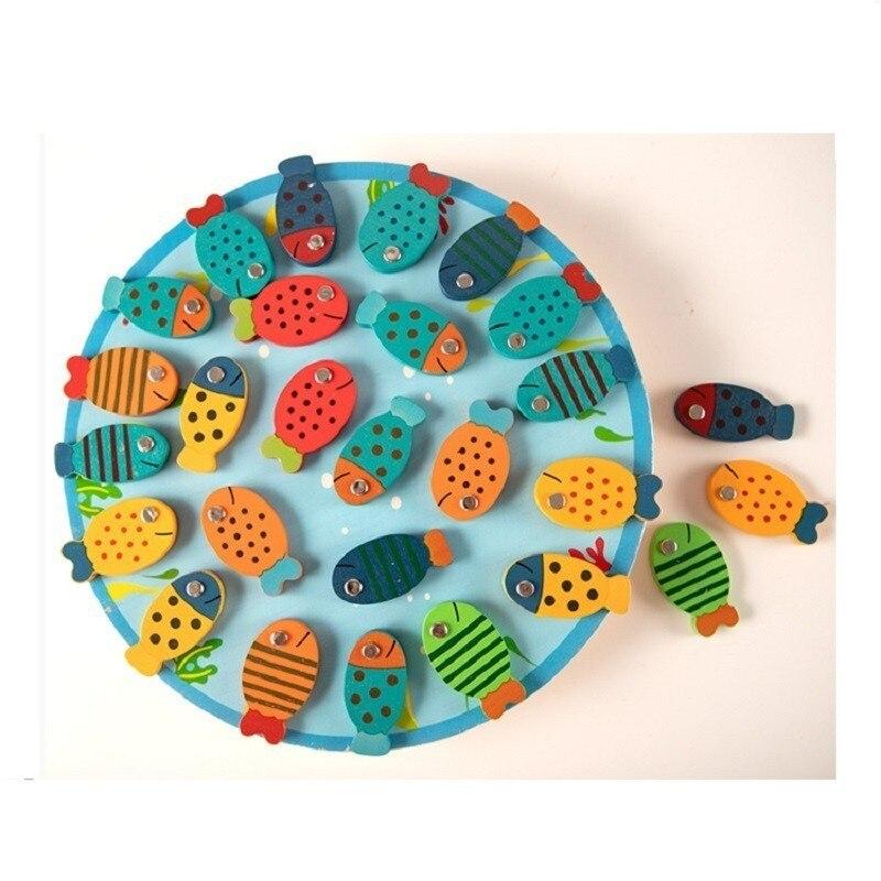 Jouets de pêche en bois de 26 pièces/ensemble avec l'alphabet ABC apprenant des jouets éducatifs précoces Montessori pour les enfants jouet interactif