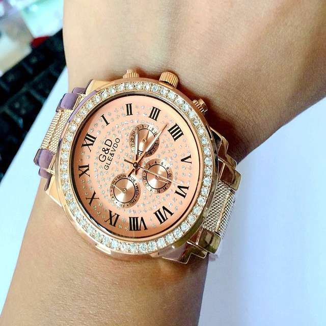 Rose Gold Watch Full Stainless Steel Woman Fashion Dress Watches New Brand Name G D Quartz Watch Best Quality