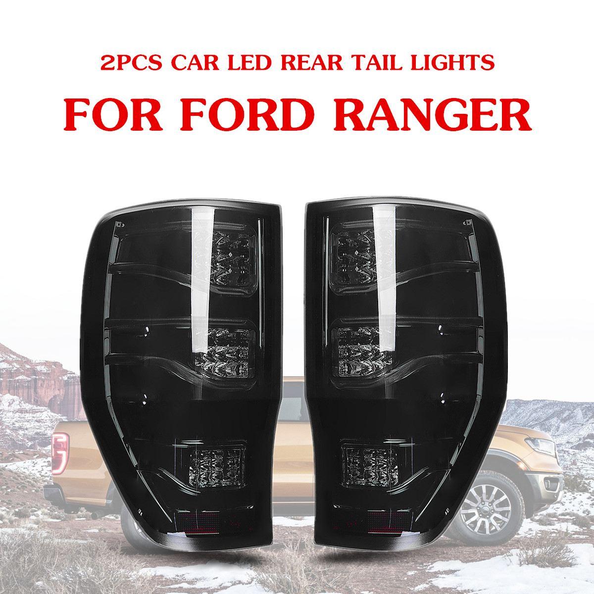 Audew 2 pièces fumé Auto voiture LED feux arrière feux arrière feux de frein pour Ford Ranger 2012-2018 ABS 27x43 cm camion lumière système