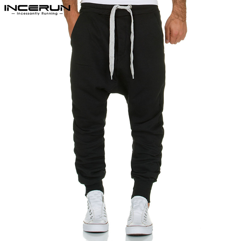 INCERUN Men Harem Pants Solid Hip-hop Workout Trousers Men Drop Crotch Streetwear Sweatpants Joggers Casual Men Pants 2019 S-3XL