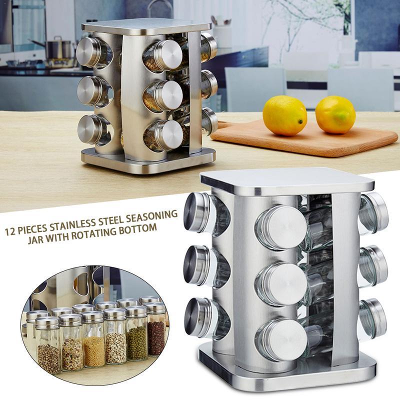 12 pièces cuisine magnétique pot à épices en acier inoxydable Cruet pot en plastique rotatif Base saison bouteille de café outil de cuisine