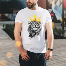 2019 New Mens Short-sleeved T-shirt Digital Printing Shirt Round Neck Fashion Large Size White Youth