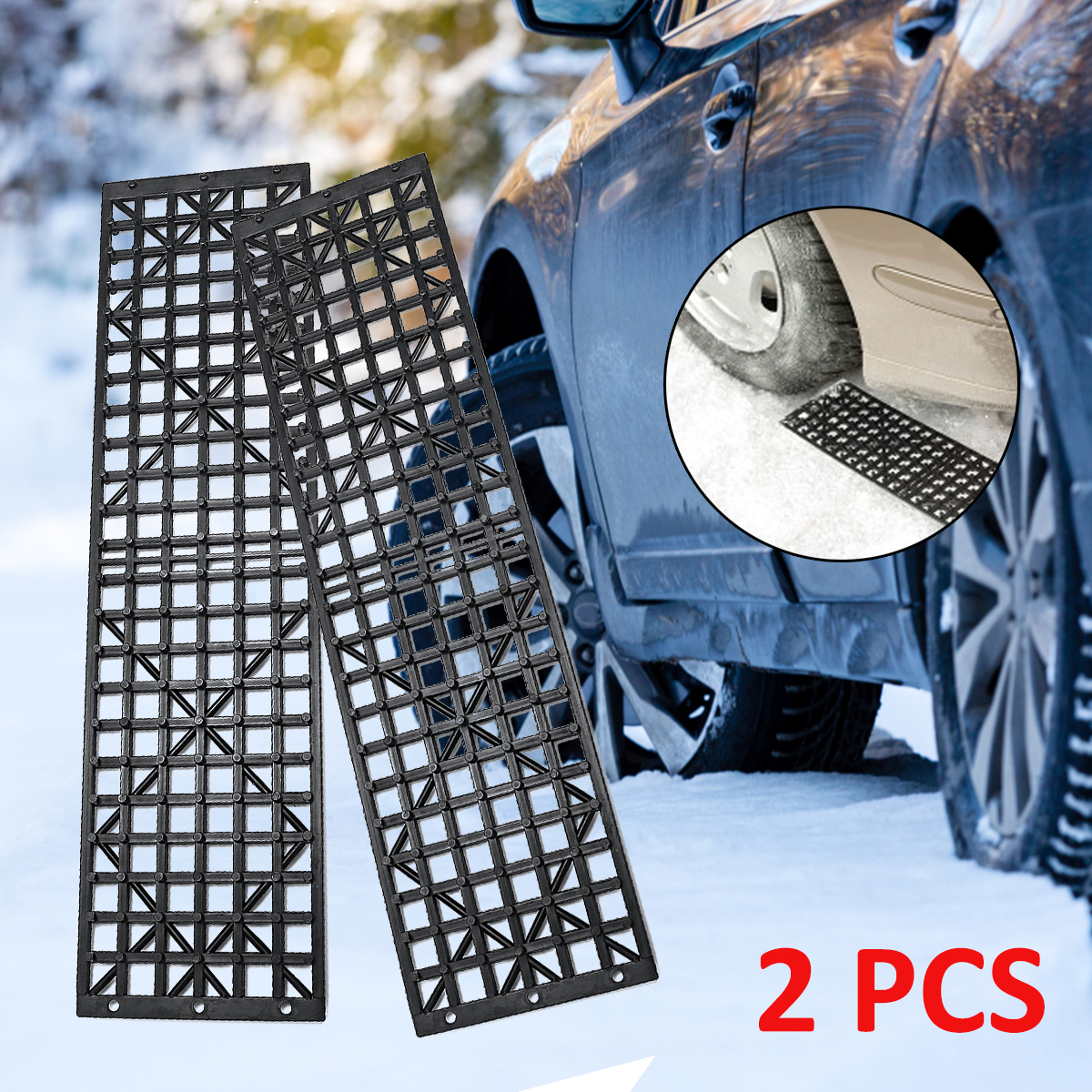 2Pcs Car Road Trouble Clearer Auto Vehicle Truck Winter Snow Chains Mud Tires Recovery Traction Mat Wheel Chain Non-slip Tracks(China)