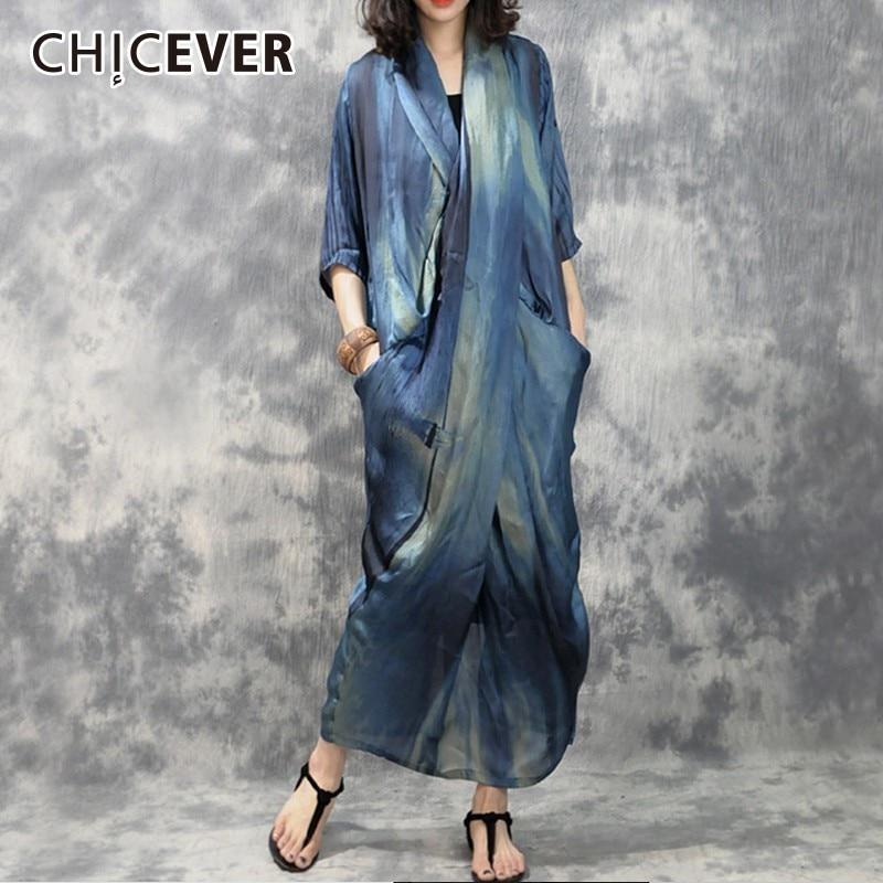 CHICEVER Hit Colors Summer Dresses For Women Vintage V Neck Hem Split Women s Dress Female
