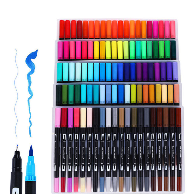 12/18/24/36/48/72/100 Colors Fineliner Drawing Painting Watercolor Art Marker Pens Dual Tip Brush Pen School Supplies Stationery 2