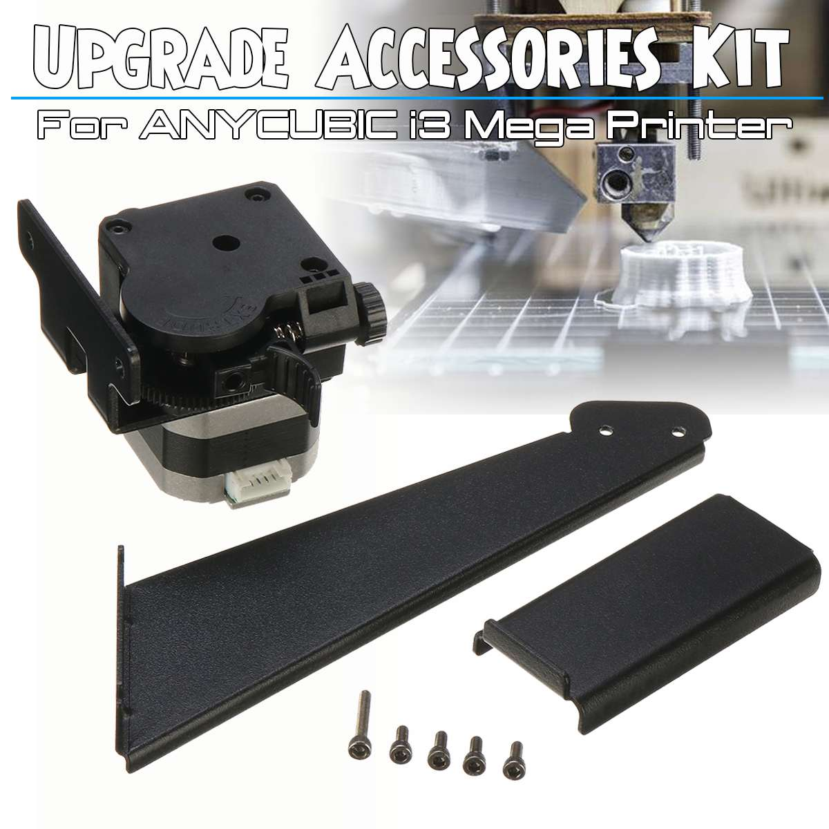 For ANYCUBIC 3D Printer Upgrade Accessories Kit For I3 Mega With Extruder Material Holder Full Metal Mechanical Kit To Mega-S image