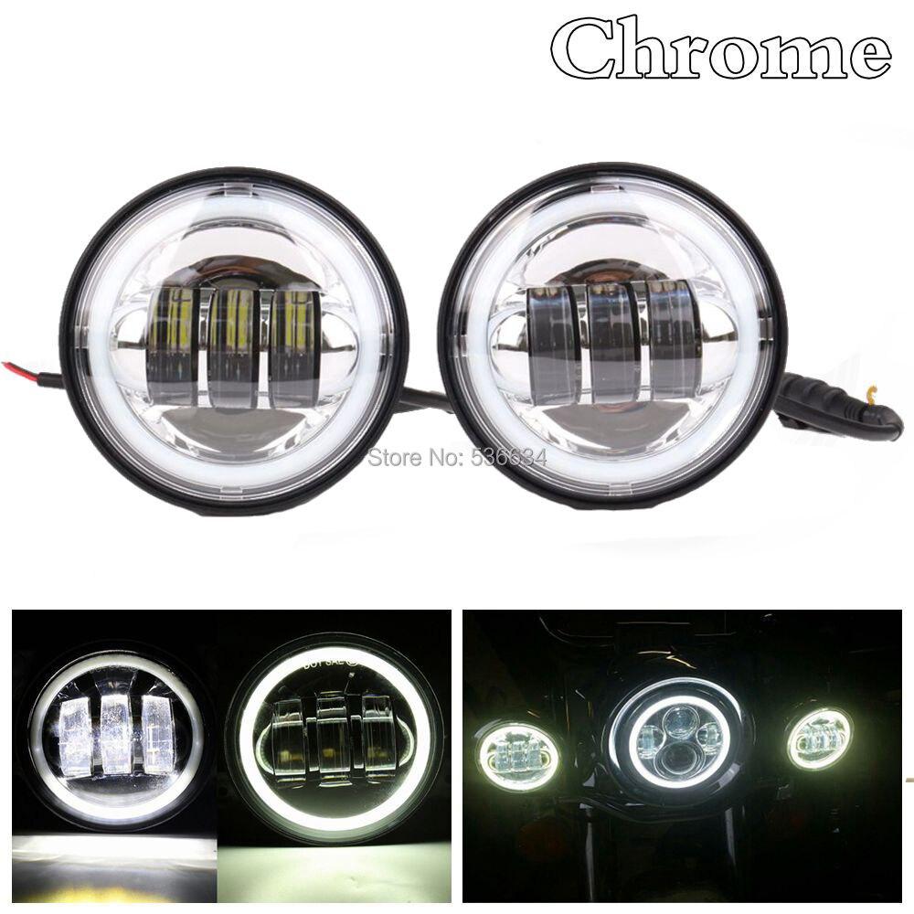 """1 Paar Chrome/zwart 4-1/2 """"4.5"""" 30 W Led Fog Passeren Verlichting Met Wit Halo Ring Voor Road King Electra Glide Flhtk Flstc Flhr"""