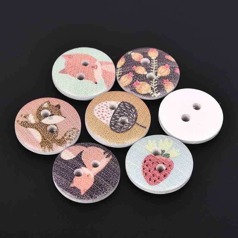 50 ชิ้น/เซ็ตสีผสม Fox สัตว์ตกแต่งไม้ปุ่มเย็บสำหรับเสื้อผ้า Scrapbooking DIY Craft ตกแต่ง