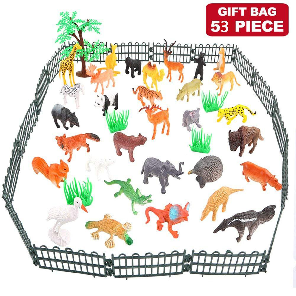 RCtown 53pcs set Dinosaur Wildlife Model Children Puzzle Early Education Gift Mini Jungle Animal Toy Set