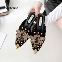 SWYIVY 2019 Women Slipper Pointed Toe Rivet Bee Spring Female Luxury Slippers Lady Outside Wear Slides Woman Slippers 40