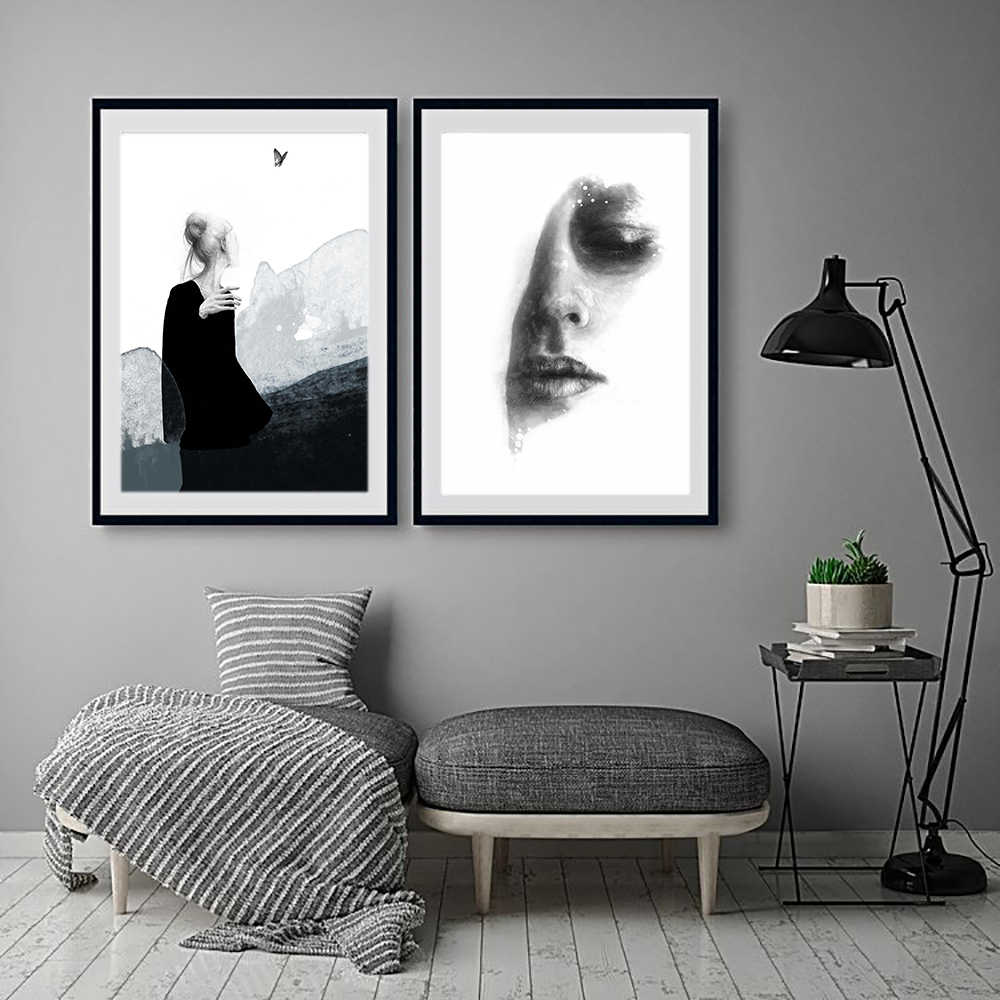 Lechao Abstract Sexy Woman Posters And Prints Black And White Face Painting For Living Room Home Decor Canvas No Frame Painting Calligraphy Aliexpress