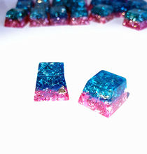 Pure Handmade Resin Keycap Keycaps Jewelry Blue Pink 2.0 OEM R4 Height Key Cap For Cherry MX Mechanical Gaming Keyboard цена