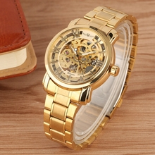 WINNER Watch Man Automatic Mechanical Watch Men's Luxury Gold Hollow Skeleton Full Stainless Steel Business Sport Wrist Watches