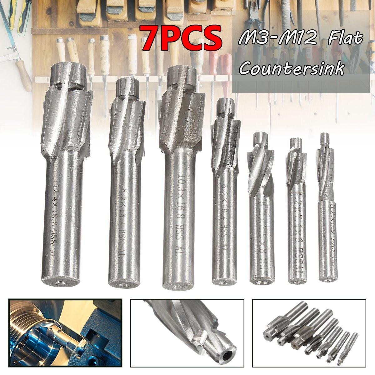 7 Piece Set HSS Flat Countersink  End Milling Cutter Drill Bits Set Sunk Head Milling Cutter Countersunk Drill M3-M12