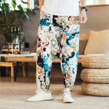 4502 Retro Linen Cotton Wide Leg Pants Men Joggers Hip Hop Harem Pants Elastic Waist