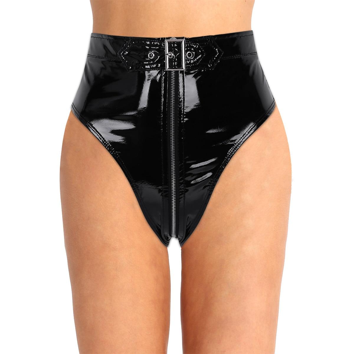 0ad3da30506 MSemis Women Wet Look Lingerie Women High Cut Underwear Sexy Thongs Panties  Booty Shorts PVC Thong Zippered with Belt Briefs