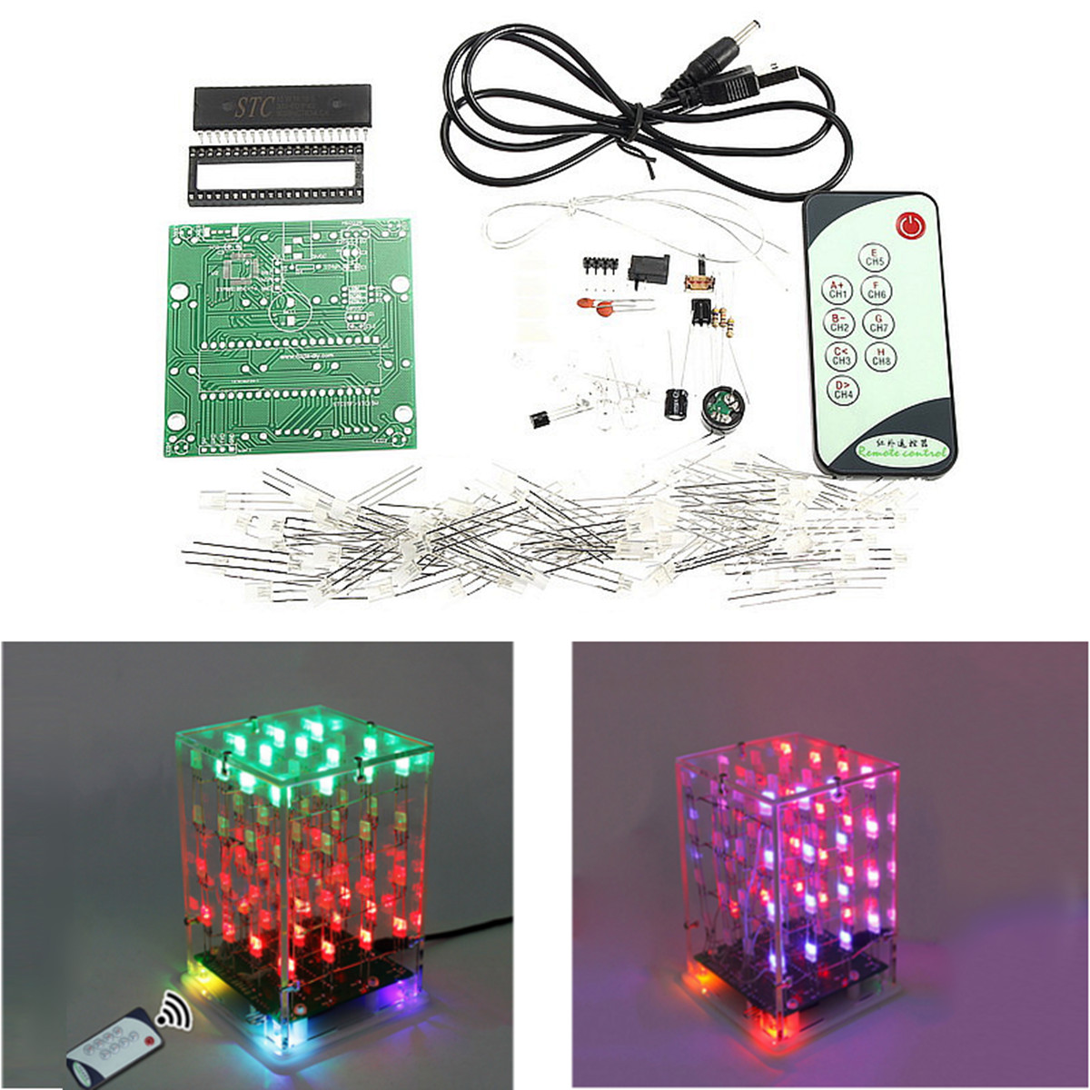 Transparent Acrylic Cube Shell For 4x4x4 3D LightSquared VC best LED Cube