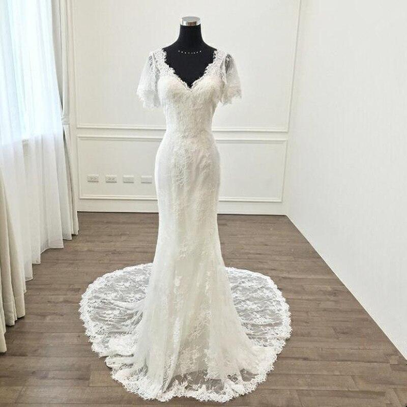Vinca Sunny Elegant V Neck Appliques Lace Mermaid Wedding Dress Count Train Backless Trumpet Bride Dress 2019
