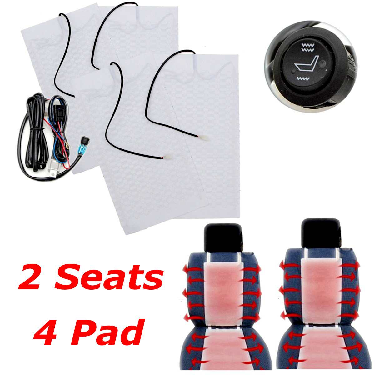 Switch-Kit Seat-Covers Heater-Pad Warmer Universal High/low-Heated-Seat Winter Car 4pcs