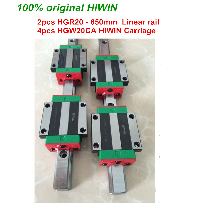 HGR20 HIWIN linear rail: 2pcs 100% original HIWIN rail HGR20 - 650mm rail + 4pcs HGW20CA blocks for cnc router
