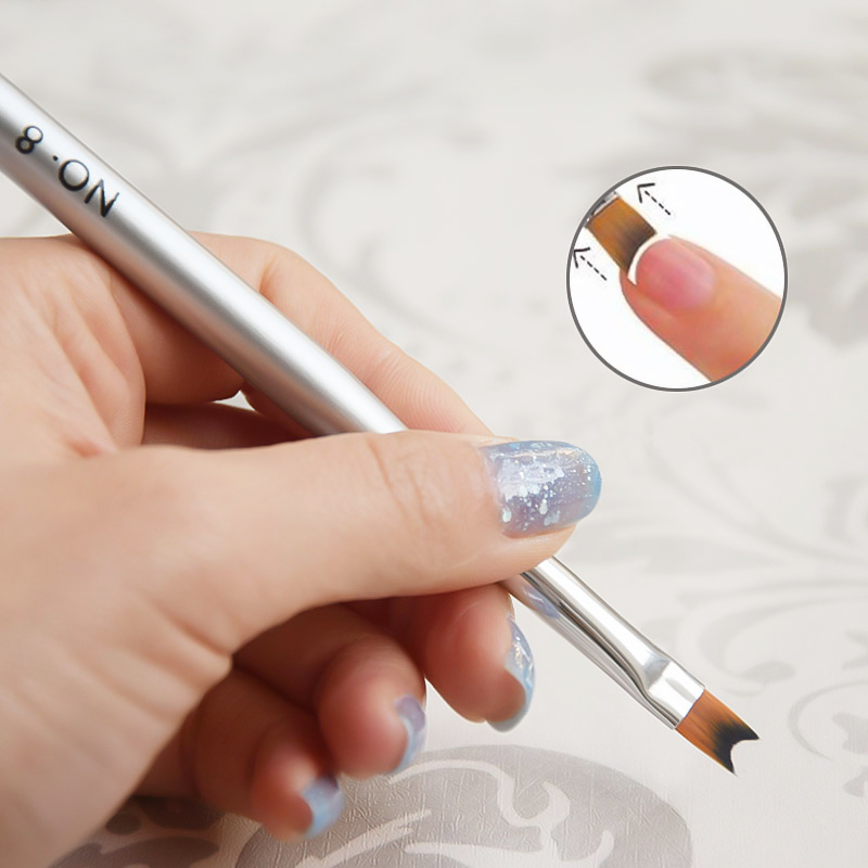 Yinikiz French Tip Nail Brush Acrylic Smile Half Moon Shape Painting Drawing Pen Half Moon Shape Manicure UV Gel Nail Art Tool