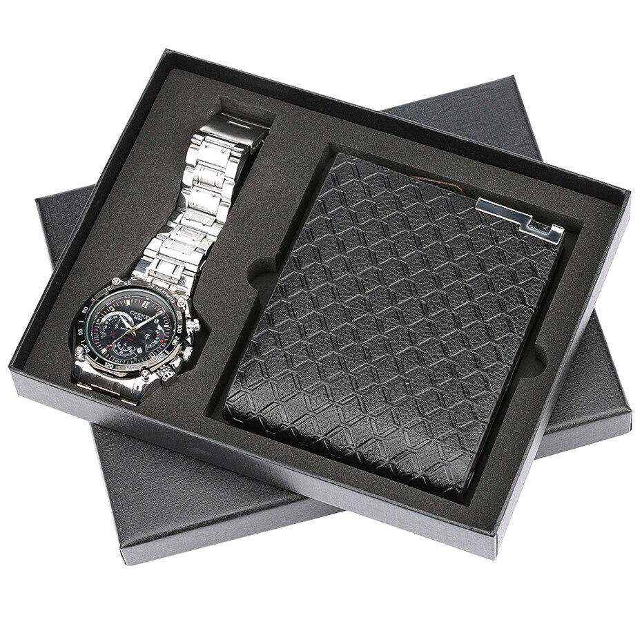 Wristwatch Men's Quartz Steel Watch Wallet Men Gift Set Modern Black Leather Men Wallets Casual Men Stainless Steel Strap Clock цена