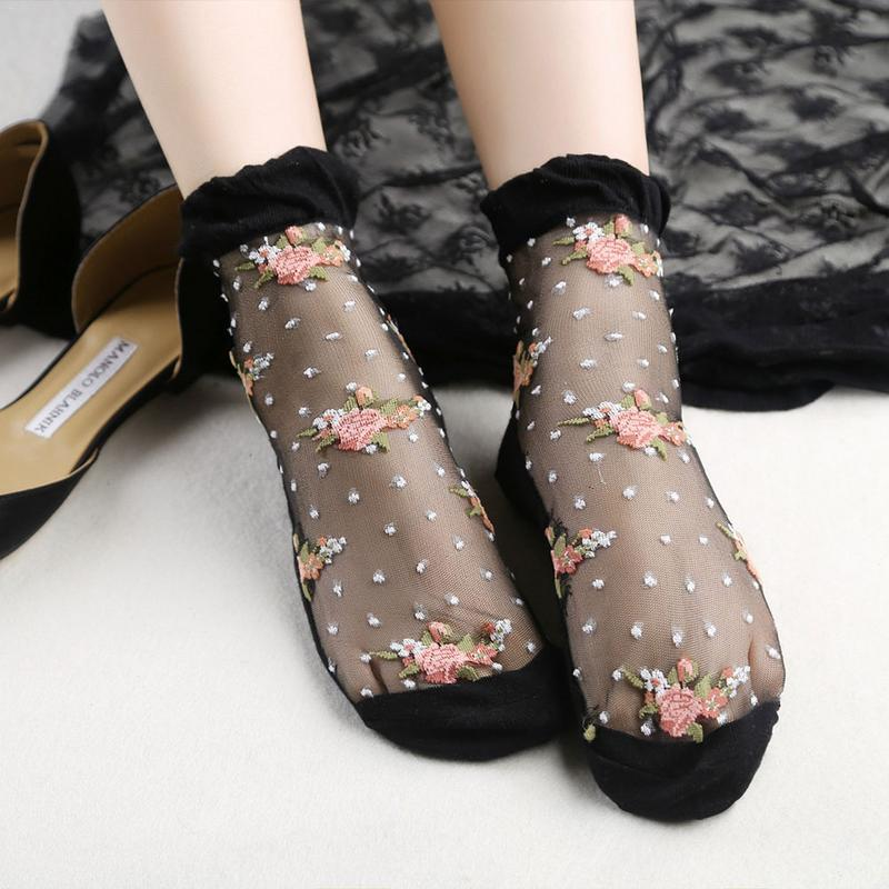1pair Woman Thin Crystal Glass Silk Transparent Socks Ladies Girls Stretch Lace Soft Cotton Socks Summer Flower Printed Sox 2019