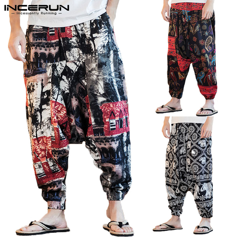 INCERUN Mens Harem Pants Print Joggers Hip-hop Drop Crotch Trousers Men Pockets Vintage Loose Nepal Style Men Long Pants S-5XL