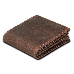 Винтажный Мужской кошелек из натуральной воловьей кожи, с блокировкой RFID, ручной работы, по цене доллара, короткий кошелек, carteira