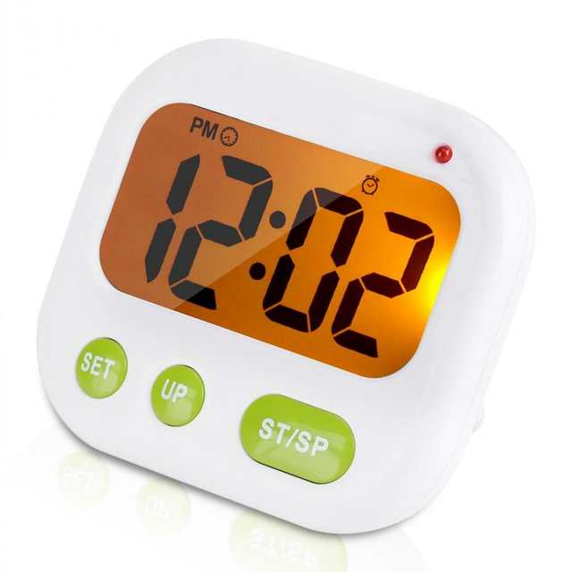US $10 44 45% OFF|Music Vibration LCD Digital Kitchen Countdown Timer Alarm  with Stand White Kitchen Timer Practical Cooking Timer Alarm Clock-in