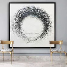 Artist Hand-painted High Quality Modern Black and White Circle Oil Painting on Canvas 100%Handmade Large Abstract