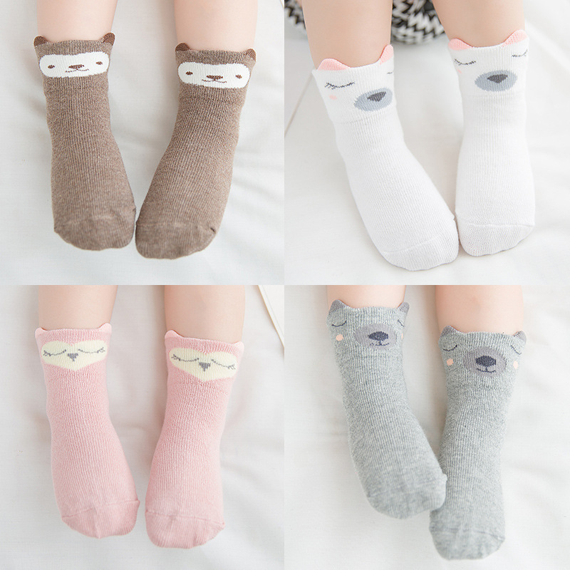 3 /Pairs 2019 Autumn And Winter New Pattern Cartoon Baby Socks Three-dimensional Ears Baby Girls Boys Full Cotton Children Socks