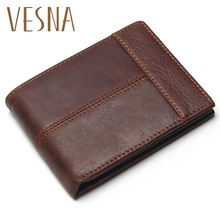 Vesna TAUREN Classic Genuine Leather Men Wallets Coin Pocket Zipper Mens Wallet With Purse Portfolio Cartera