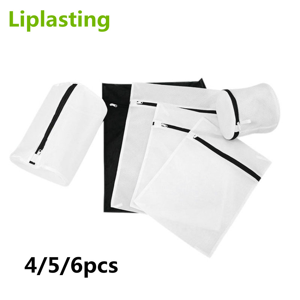 4/5/6PCS Zippered Washing Laundry Bag Foldable Mesh Clothing Care Protector Bag Travel Portable Storage For Bra Underwear Socks